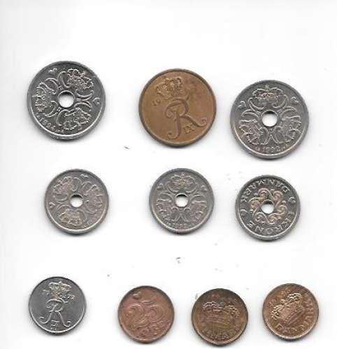 Danemark , lot de 10 pièces , voir détail ci-dessous