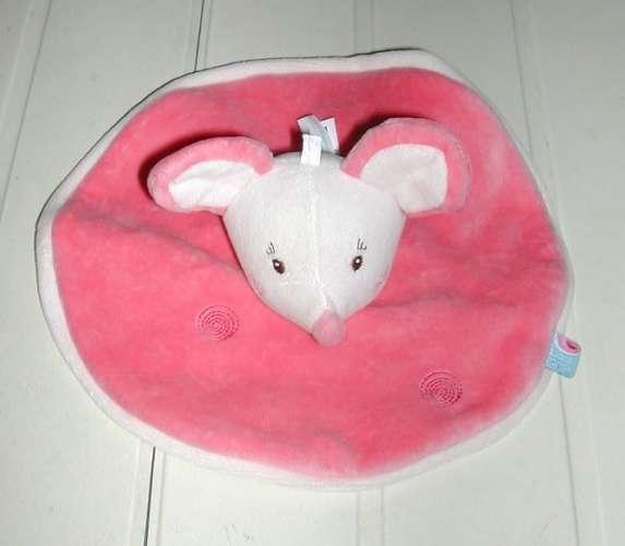 Doudou douceur plat rond Sucre d'Orge Petite souris rose bordure blanche