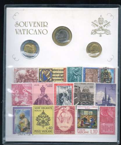 souvenir du vatican pieces 2001 et timbres (lot divers)