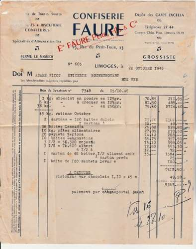 Facture confiserie timbrée YT 681 Flamme Entraide Française