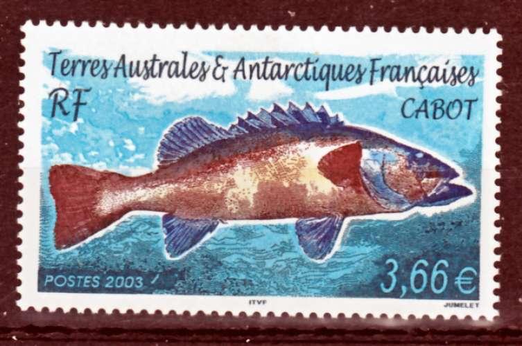 TAAF 359 poisson cabot NEUF ** luxe MNH sin charnela prix de la poste 3.66