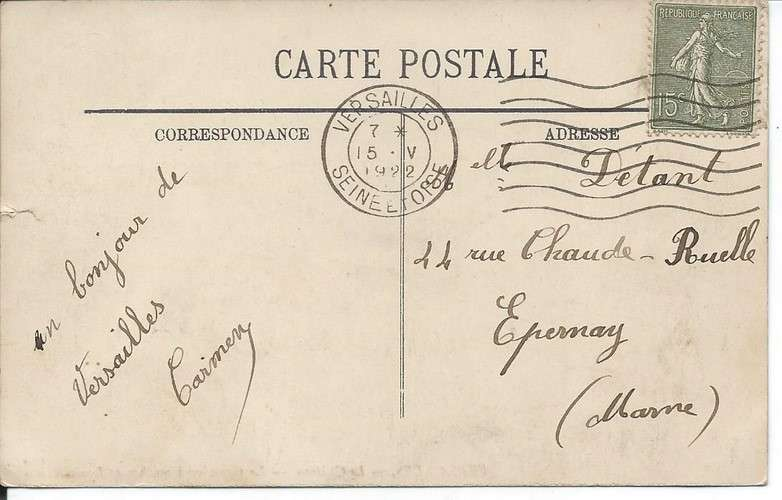 CPA - 78 - Versailles - Château - Flamme FLIER Versailles sur Semeuse YT 130 - 1922 - Dos scanné