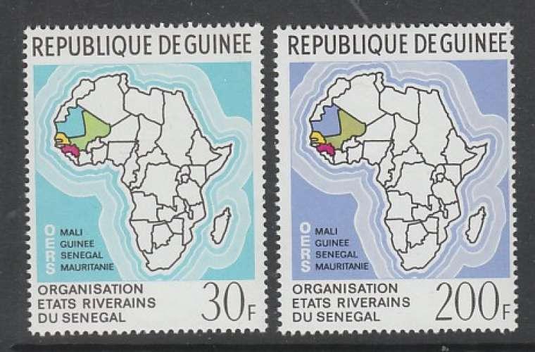 PAIRE NEUVE DE GUINEE - ORGANISATION DES ETATS RIVERAINS DU SENEGAL N° Y&T 416/417