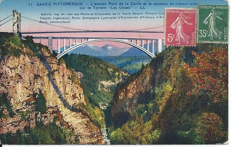 CPA - 73 - Savoie - Pont de la Caille - YT 278B et 361 - Colorisée - Dos scanné
