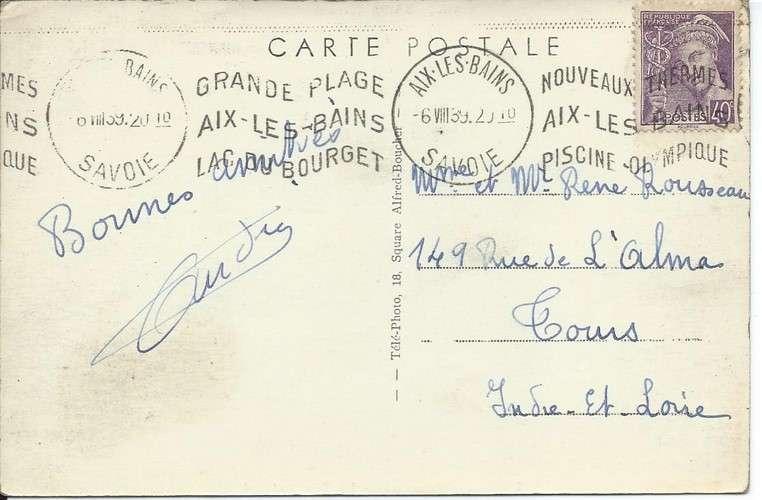 CPA - 73 - Aix-les-Bains - Flamme Krag sur Mercure YT 413 - 1939 - Colorisée - Dos scanné
