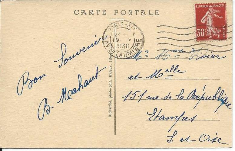 CPA - 27 - Evreux - Cathédrale - Flamme Flier Paris XIX sur Semeuse YT 360 - 1938 - Dos scanné