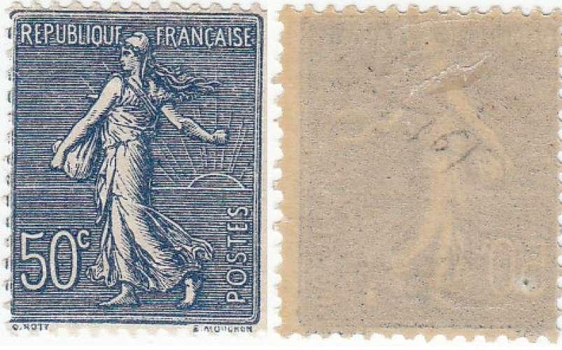 france:  timbre N°161a - semeuse lignée 50C bleu noir- cote 65€ recto/verso