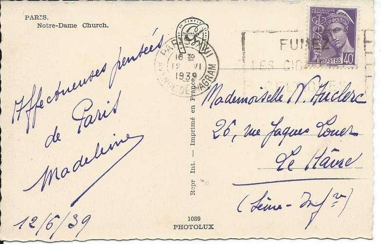 France 1939 Flamme Flier sur Mercure YT 413 seul sur CPA - Paris - Notre-Dame - 1939 - Dos scanné