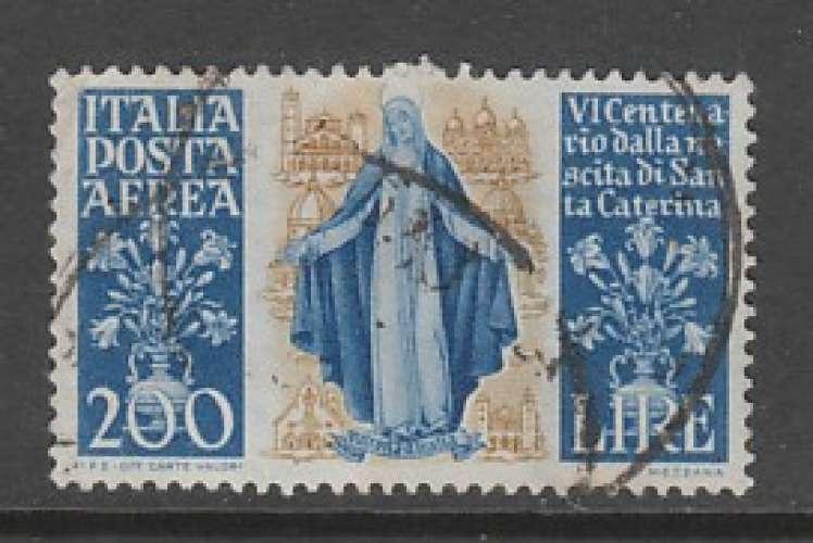TIMBRE OBLITERE D'ITALIE - 6E CENTENAIRE DE LA NAISSANCE DE SAINTE CATHERINE DE SIENNE N° Y&T PA 130