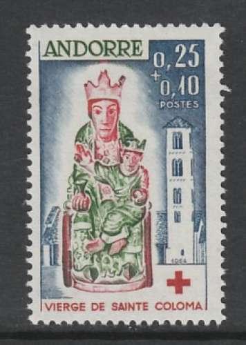 TIMBRE NEUF D´ANDORRE FR. - LA VIERGE DES REMEDES DE SAINT-COLOMA (CROIX-ROUGE 1964) N° Y&T 172