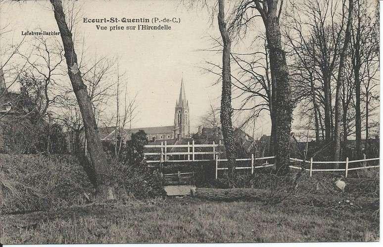CPA - 62 - Ecourt-Saint-Quentin - Vue prise sur l'Hirondelle - Dos scanné