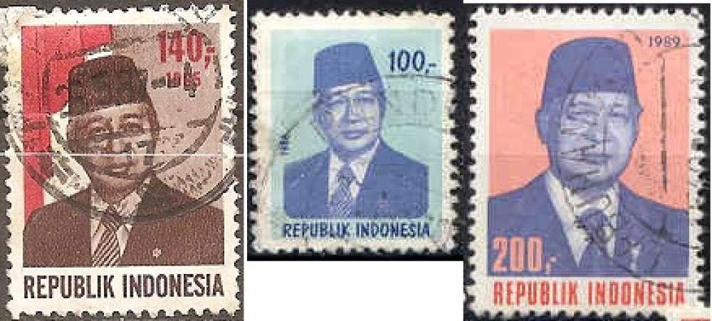 Indonesie 1985-1989 YT 1056-1106-1212 Obl Président Suharto