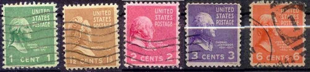 USA 1938 YT 369-370-371-372-376 Obl Présidents