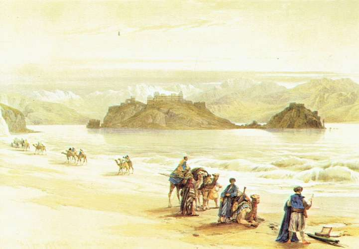 The CORAL Island (Gulf of Eilat) - Lithography by David Roberts