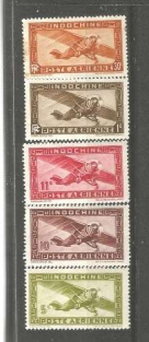 timbre  indochine   1889-1945)  (ex-colonies)   les 5 timbre neuf Aviation