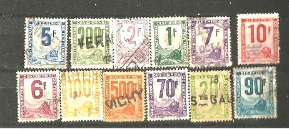 timbre   timbre france  Société nationale Des Chemins de Fer Français  Petits Colis Postaux les 12