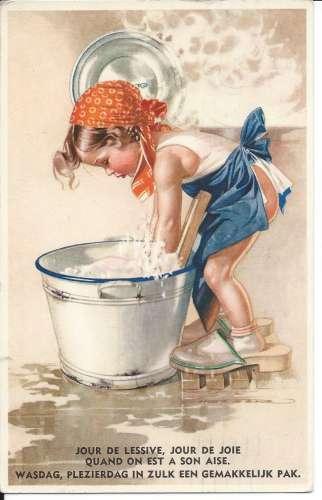 Holzer - Fillette - Jour de lessive jour de joie quand on est à son aise