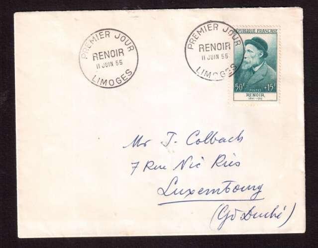 Forte cote : France 1955 Y&T 1032 (o) Renoir 50F+15F sur lettre premier jour 11 juin 55   circulé