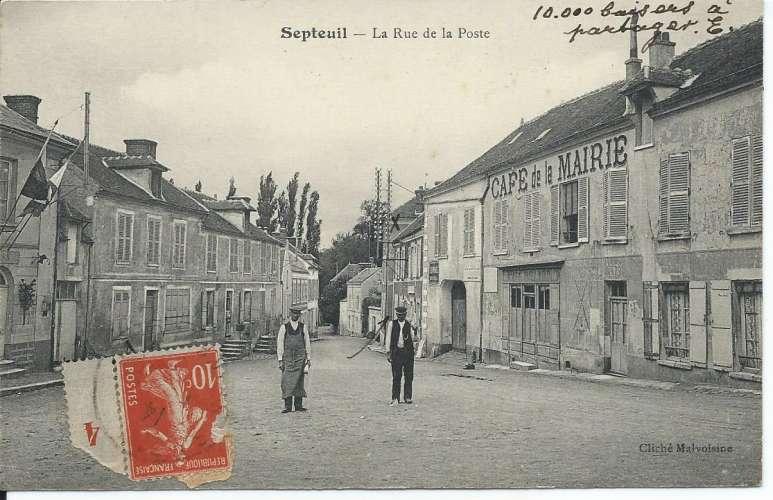 CPA - 78 - Septeuil - Rue de la Poste - Café de la Mairie - Dos scanné