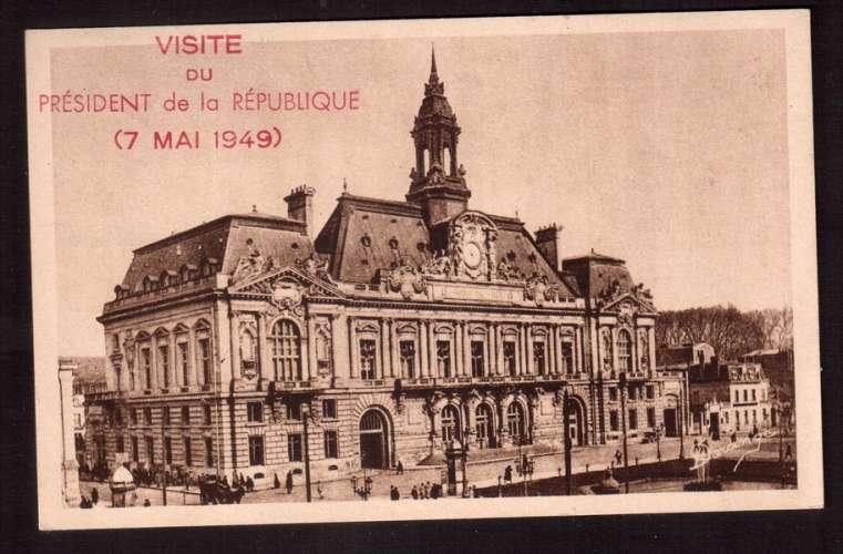 France 1949 Y&T 829 (o) 15F seul sur Cpsm visite du Président de la République 7 mai 1949