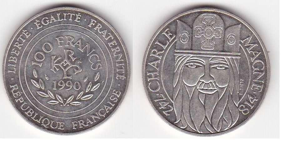 France  100 francs Charlemagne argent  année 1990  qualité sup ++