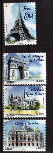 France 4514 4517 Paris neuf ** luxe MNH sin charnela faciale 2.32