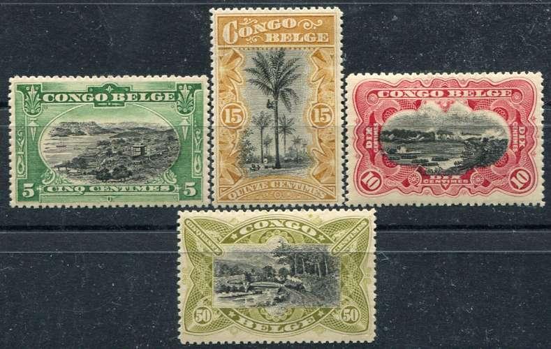 CONGO BELGE  _  Y & T  :    N°  50/53 *    Cote  :  33,00  €