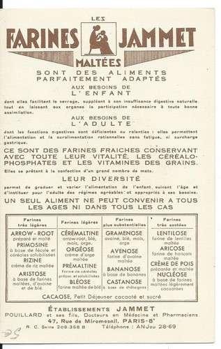 Chromo - La Lorraine - Provinces de France - Farines Jammet - Dos scanné