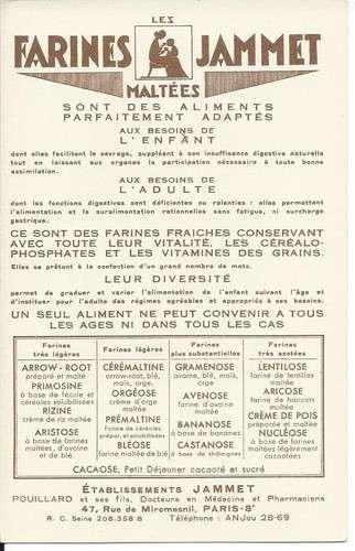 Chromo - Le Maine - Provinces de France - Farines Jammet - Dos scanné