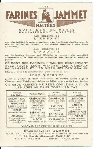 Chromo - La Marche - Provinces de France - Farines Jammet - Dos scanné