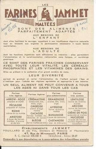 Chromo - Le Nivernais - Provinces de France - Farines Jammet - Dos scanné