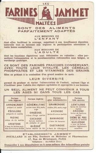 Chromo - La Normandie - Provinces de France - Farines Jammet - Dos scanné