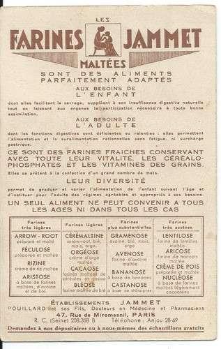 Chromo - La Touraine - Provinces de France - Farines Jammet - Dos scanné