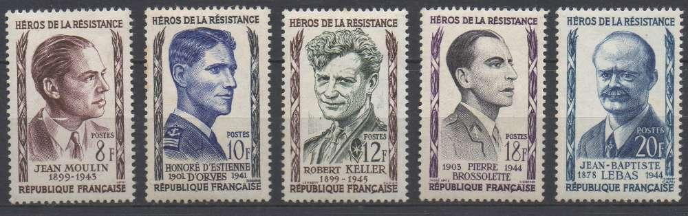 France 1957 - y & t : 1100 à 1104 (N*) - Héros de la résistance