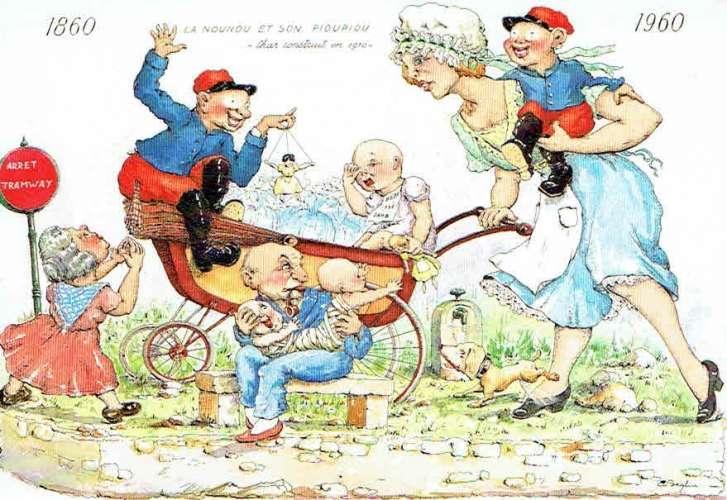 Carnaval de MENTON : La Nounou et son Pioupiou - Char construit en 1910