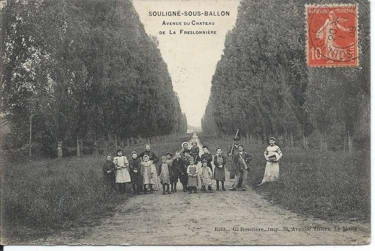 CPA - 72 - Souligné-sous-Ballon - Belle animation - Année 1908 - Animée - Dos scanné