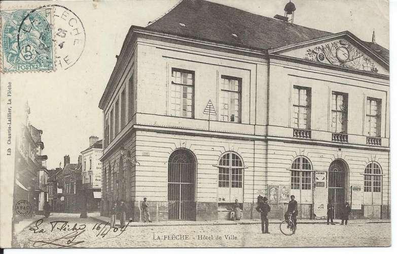 CPA - 72 - La Flèche - Hôtel de Ville - Année 1904 - Dos scanné