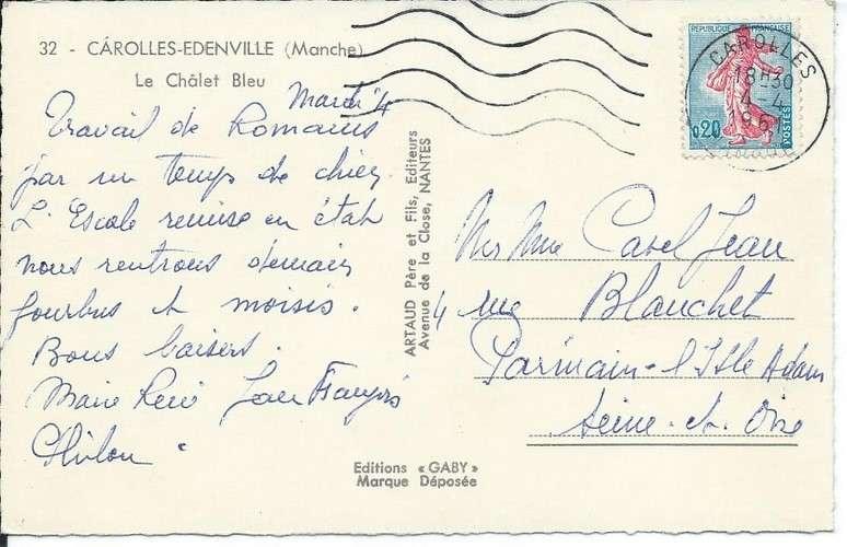 50 - Carolles-Edenville - Le Châlet Bleu - 1961- Citroën 2 CV - Renault Frégate - Peugeot 403 Simca