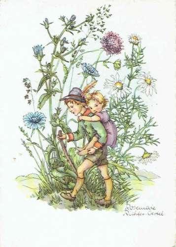 Rosemarie RICHTER-OERSEL: Garçon dans les fleurs portant une fillette