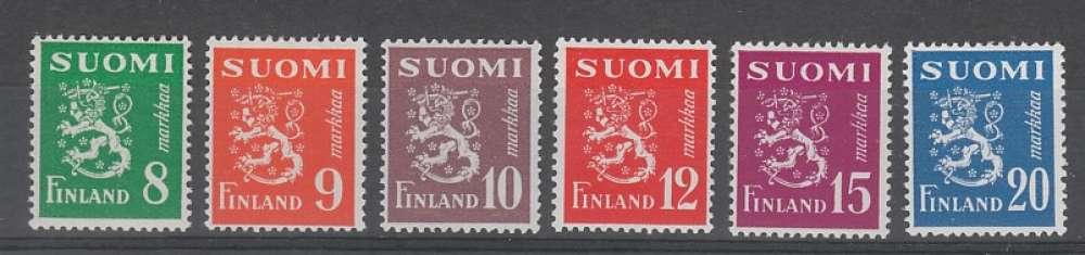 SERIE NEUVE DE FINLANDE - LION HERALDIQUE N° Y&T 362 A 367