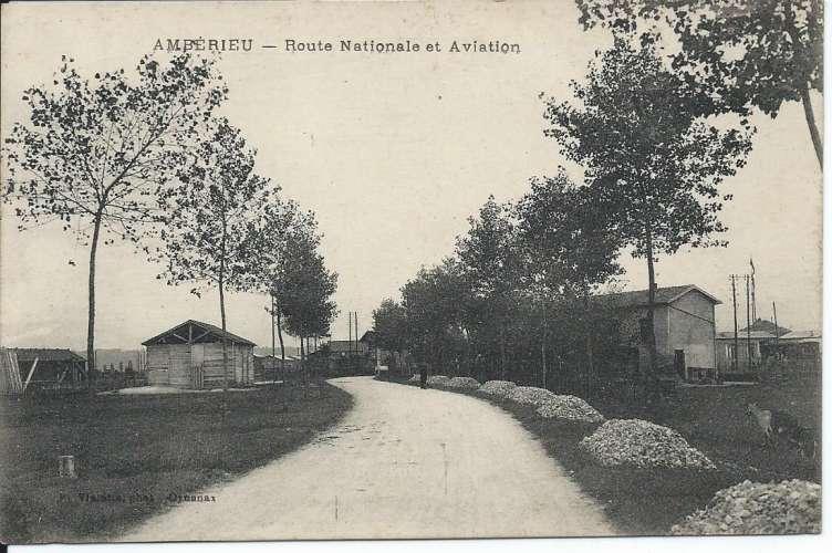 CPA - 01 - Ambérieu - Route Nationale et Aviation - 1918 - Dos scanné