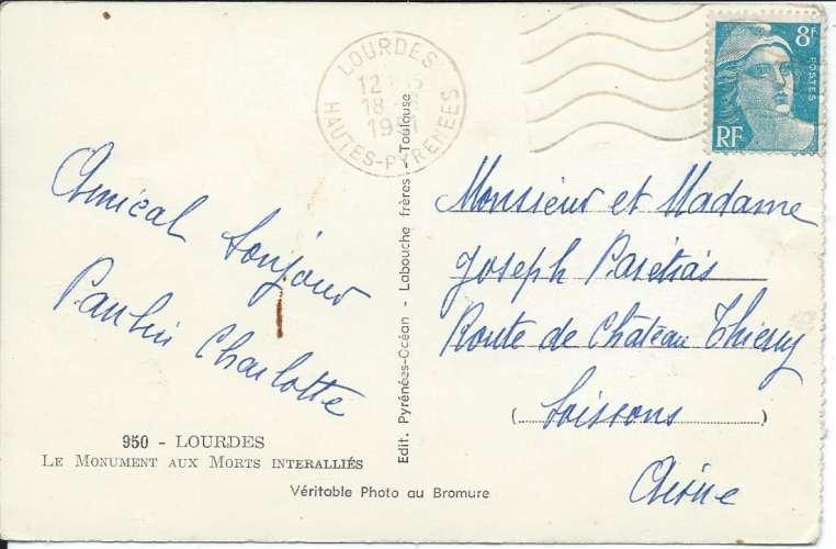 CPSM - 65 - Lourdes - Flamme Lourdes 1951 sur YT 810 - Dos scanné