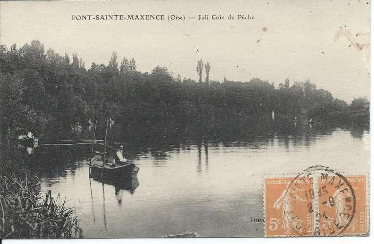 CPA - 60 - Pont-Sainte-Maxence - Coin de Pêche - Paire Y&T 158 - 1924 - Dos scanné
