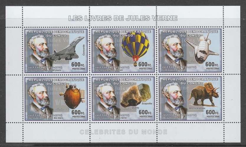 FEUILLET NEUF DE REP. DEM. DU CONGO - LES LIVRES DE JULES VERNES N° Y&T 1689 A 1694