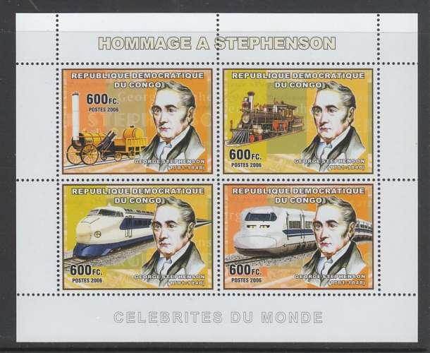 FEUILLET NEUF DE REP. DEM. DU CONGO - GEORGE STEPHENSON ET LOCOMOTIVES N° Y&T 1717 A 1720