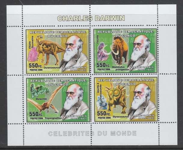 FEUILLET NEUF DE REP. DEM. DU CONGO - CHARLES DARWIN ET ANIMAUX PREHISTORIQUES N° Y&T 1713 A 1716