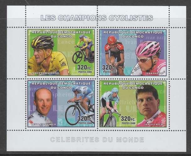 FEUILLET NEUF DE REP. DEM. DU CONGO - LES CHAMPIONS CYCLISTES N° Y&T 1721 A 1724