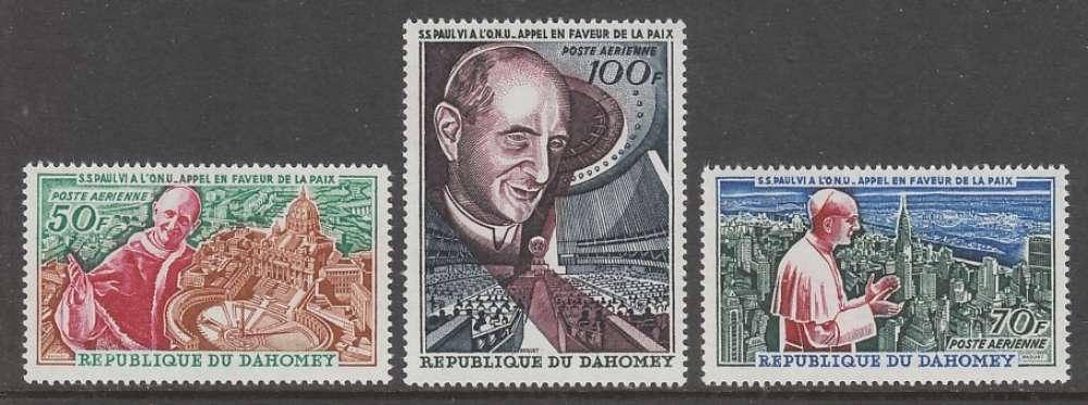 SERIE NEUVE DU DAHOMEY - APPEL DE PAUL VI EN FAVEUR DE LA PAIX N° Y&T PA 43 A 45