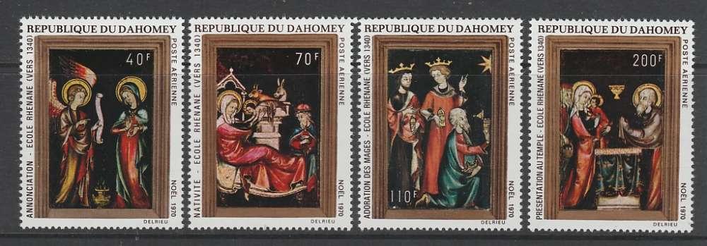 SERIE NEUVE DU DAHOMEY - TABLEAUX DIVERS DE L´ECOLE RHENANE VERS 1340 (NOËL 1970) N° Y&T PA 134/137