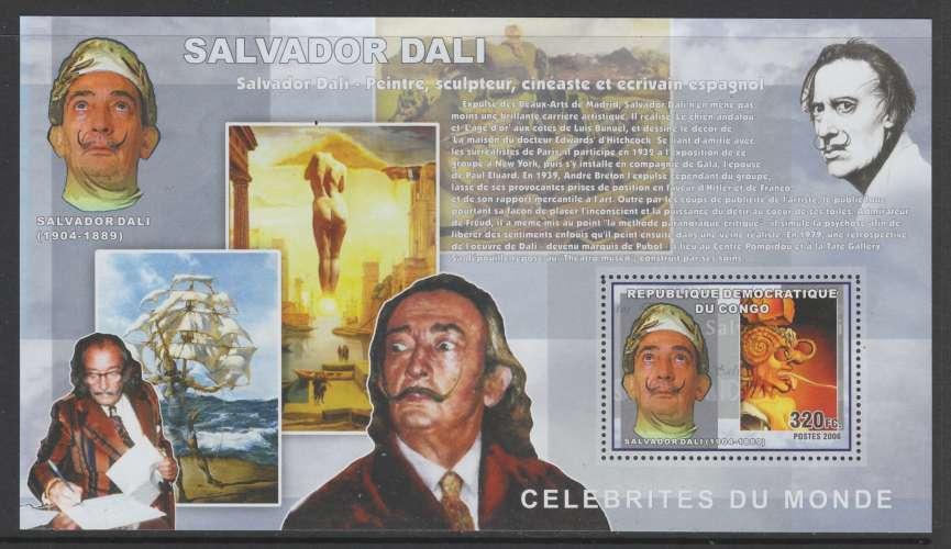 2 BLOCS NEUFS DE REP. DEM. DU CONGO - SALVADOR DALI N° COB 442/443